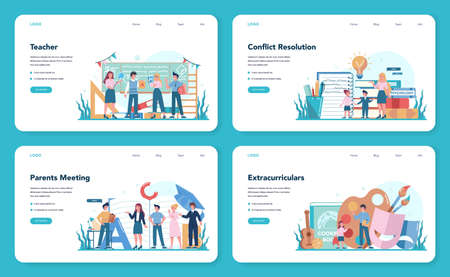 Teacher web banner or landing page set. Profesor standing in front Çizim