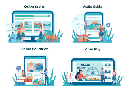 Tour vacation guide online service or platform set. Tourists listening 일러스트