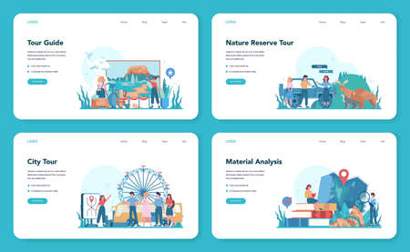 Tour vacation guide web banner or landing page set. Tourists listening to the history of the city and attractions. Tour entertainment. Idea of traveling and learning. Isolated vector illustration
