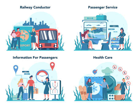 Railway conductor concept. Railway worker in uniform on duty. Train 일러스트