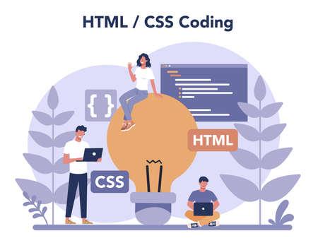 Typersetter concept. Website constructing. Process of creating website Ilustracja
