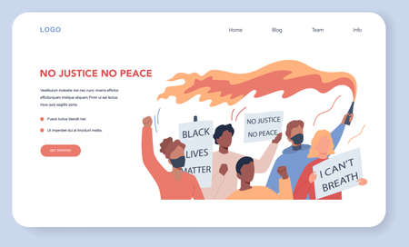 Black lives matter web banner or landing page. Protester call
