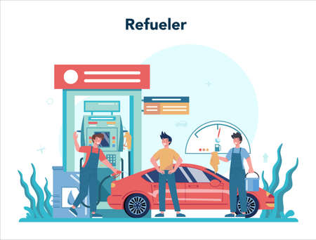 Gas station worker or refueler concept. Worker in uniform working Ilustracja