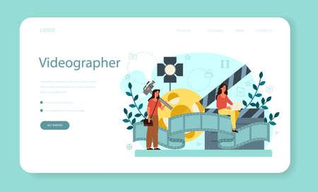 Motion or video designer web banner or landing page . Artist