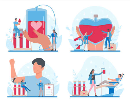 Blood donation concept set. Give blood and save life, become donor. Idea of charity and help. Doctor with a blood vial. Flat vector illustration Çizim