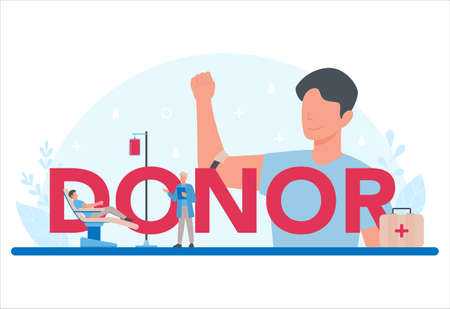 Donor typographic header concept. Give blood and save life, become Çizim