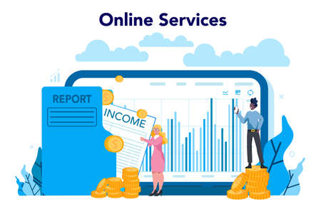 Statistician and statistic online service or platform. Specialist working with data analyzing, processing information. . Isolated vector illustration Illusztráció