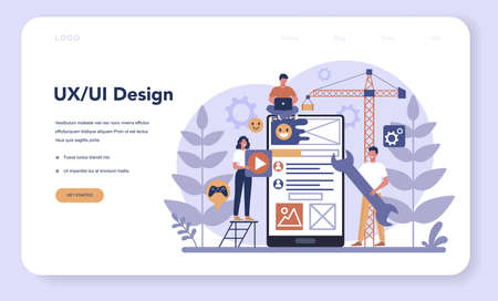 UX UI designer web banner or landing page. App interface