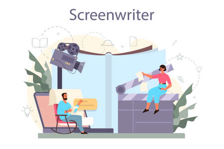 Screenwriter concept. Person create a screenplay for movie. Author
