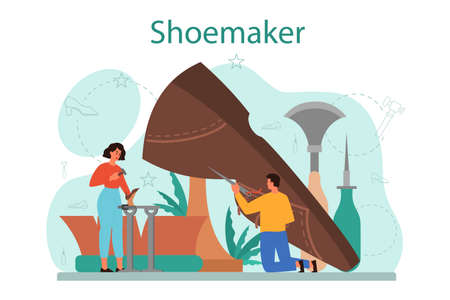 Shoemaker concept. Male and female character wearing an apron