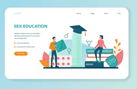 Sexual education web banner or landing page. Sexual health lesson