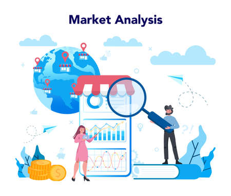 Trendwatcher concept. Specialist in tracking the emergence of new business trends. Business strategy and project management. Vector illustration in flat style