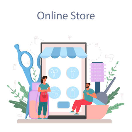 Hairdresser online service or platform. Idea of hair care in salon. Hair treatment and styling. Online store. Isolated vector illustration