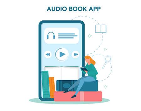 Library online service or platform. Audio book concept. Idea of online 일러스트