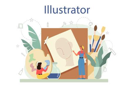 Graphic illustration designer, illustrator concept. Artist drawing picture