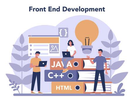 Frontend development concept. Website interface design improvement. Stock Illustratie