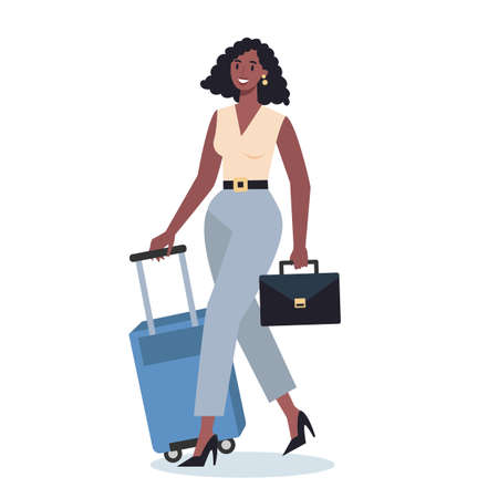 Business person having a business trip. Female character walking
