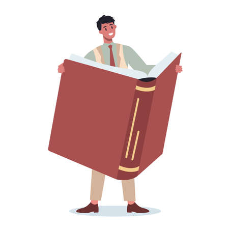 Young business character standing near big stack of books.