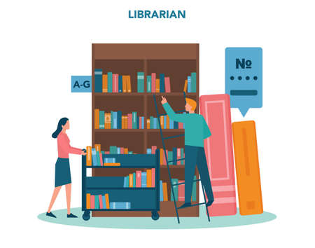 Librarian concept. Library staff holding and sorting book. Knowledge