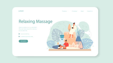 Massage and masseur web banner or landing page. Spa procedure