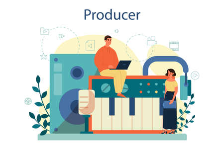 Producer concept illustration. Film and music production. 일러스트