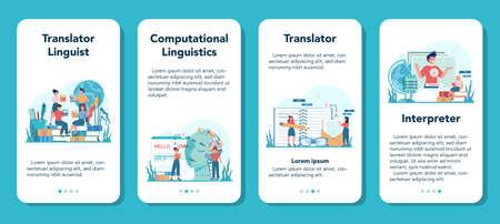 Translator and translation service mobile application banner set. 일러스트