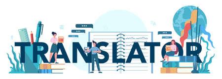 Translator and translation service typographic header concept.
