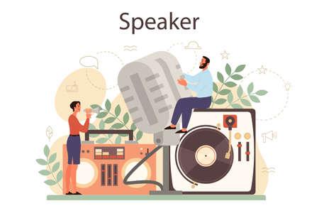 Professional speaker, commentator or voice actor concept. Peson