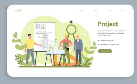 Architecture web banner or landing page. Idea of building project 일러스트