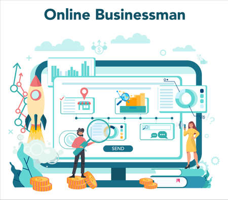 Business online service or platform. Idea of strategy and achievement.