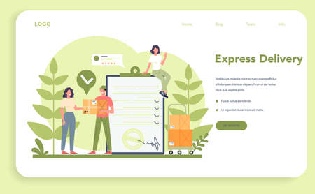 Delivery service web banner or landing page. Courier in uniform 일러스트