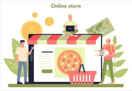 Delivery service online service or platform. Courier in uniform Ilustração