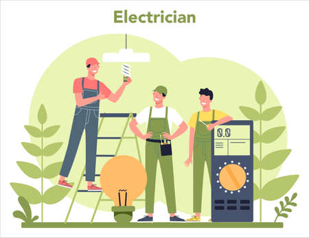 Electricity works service concept. Professional worker in the uniform 일러스트