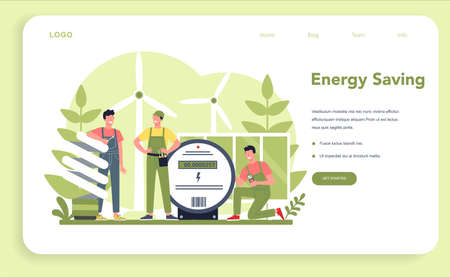 Electricity works service web banner or landing page. Professional