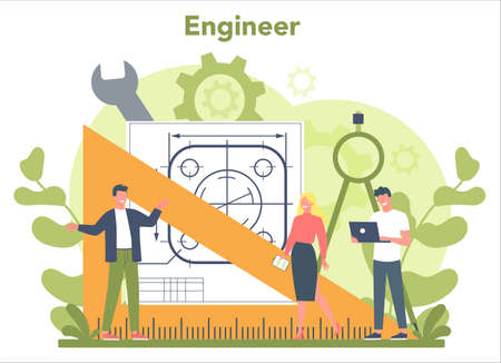 Engineer concept. Professional occupation to design and build 일러스트