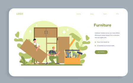 Wood furniture assembly web banner or landing page. Professional 矢量图像