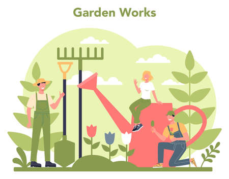 Gardening concept. Idea of horticultural designer business. Character Illustration