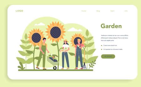 Gardening web banner or landing page. Idea of horticultural designer