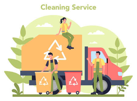 Cleaning service or company concept. Cleaning staff with special 일러스트