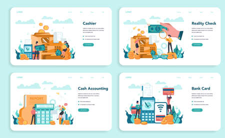 Cashier web banner or landing page set. Worker behind the cashier