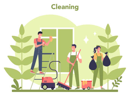 Cleaning service or company. Woman and man doing housework. 일러스트