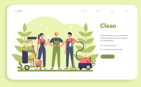 Cleaning service or company web banner or landing page. Woman 일러스트