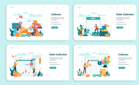 Debt collector web banner or landing page set. Pursuing payment