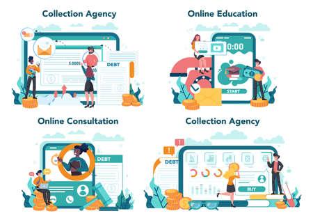 Debt collector online service or platform set. Pursuing payment 일러스트