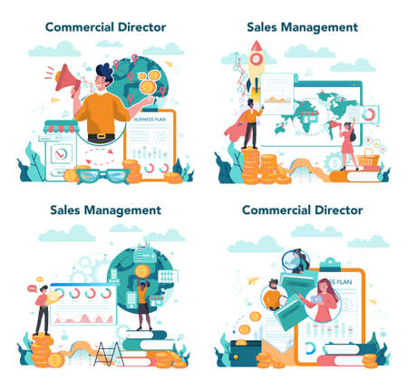 Sales manager or commercial director concept set. Business planning