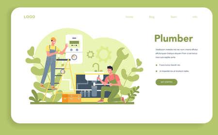 Plumbing service web banner or landing page. Professional repair