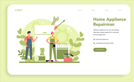 Repairman web banner or landing page. Professional worker
