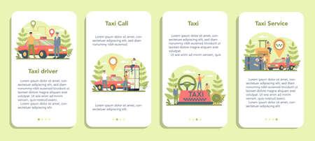 Taxi service mobile application banner set. Yellow taxi car. Automobile