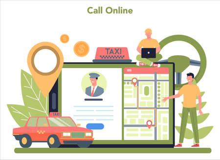 Taxi service online service or platform. Yellow taxi car. Idea of public