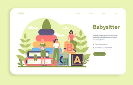 Babysitter service or nanny agency web banner or landing page.